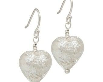 Silver Murano Glass Heart Earrings | Sterling Silver Earwires | Silver Heart Earrings | Silver Murano Hearts | Heart Drop Earrings
