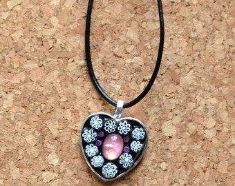 Pink and White Millefiori Glass Mosaic Necklace