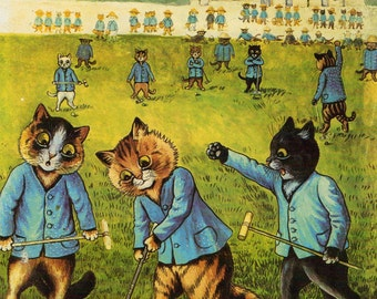 Louis Wain Cat Print Art - Croquet Wickets