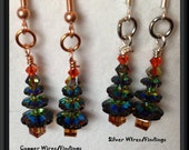Christmas Tree SWAROVSKI Crystal EARRINGS: Sparkling Iridescent Red,Green & Gold Genuine Swarovski Crystals, Sterling Silver/Copper Earwires