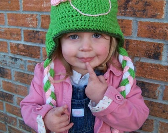 Girl Flower Frog Hat