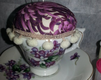 SALE!!  Pincushion in a vintage china cup and saucer with purple flowers-unique-vintage-retro-handmade