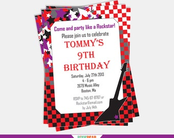 Rock Star Invitation - Rockstar Party Invitation - Rock Star Birthday Invitation - Rock Star Party Invitation (Instant Download)
