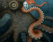 Giant Octopus Watercolor Art Print, limited edition