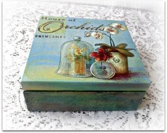 Decoupage box, wooden keepsake box , jewelry box , orchid