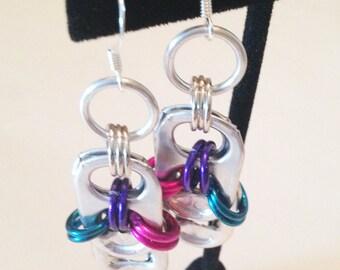 Pop Tab Earrings, Bi Pride Earrings, Soda Tab, Upcycled Jewelry, Pride Jewelry, Recycled Aluminum Tops, Chainmaille Dangle