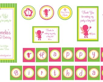 Fairy Party Printables-Pink Fairy Birthday Party-Fairy Garden Party- Fairy Theme Birthday Party