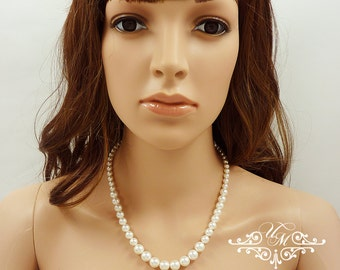 Wedding Jewelry Single strand Swarovski Pearl Necklace Pure Pearl Necklace Bridal Necklace Bridal Jewelry Bridesmaids Necklace - PURE PEARL