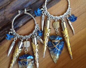 Handmade Tribal Earrings Unique, Arrowhead, Horn, Boho, Spike, Dangle, Festival, Western, Native, ONE OF A KIND (Beautiful Hunt Earrings)