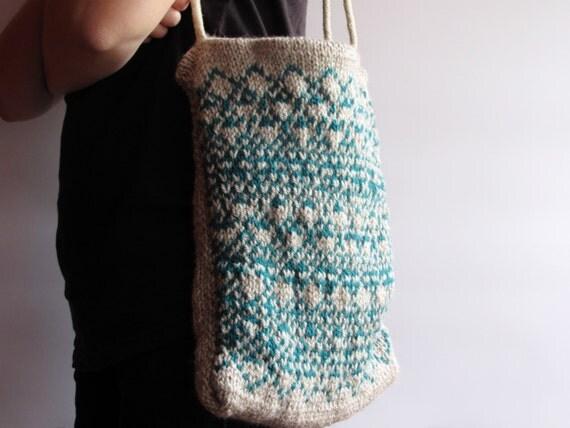 Items similar to Knit Tote Beach Hobo Bag Bosnian Pattern Boho Ethnic Traditi...