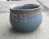 Handmade Pottery Bowl Stoneware Antique Blue Green