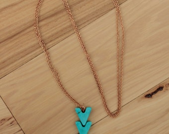 Triple Turquoise Arrow Necklace // Choose your Finish
