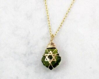 Jewish star - star of david necklace - Green stone