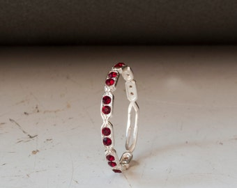 Eternity ring -  Red stone ring - thin band - dainty silver ring - stacking ring - Garnet Ring