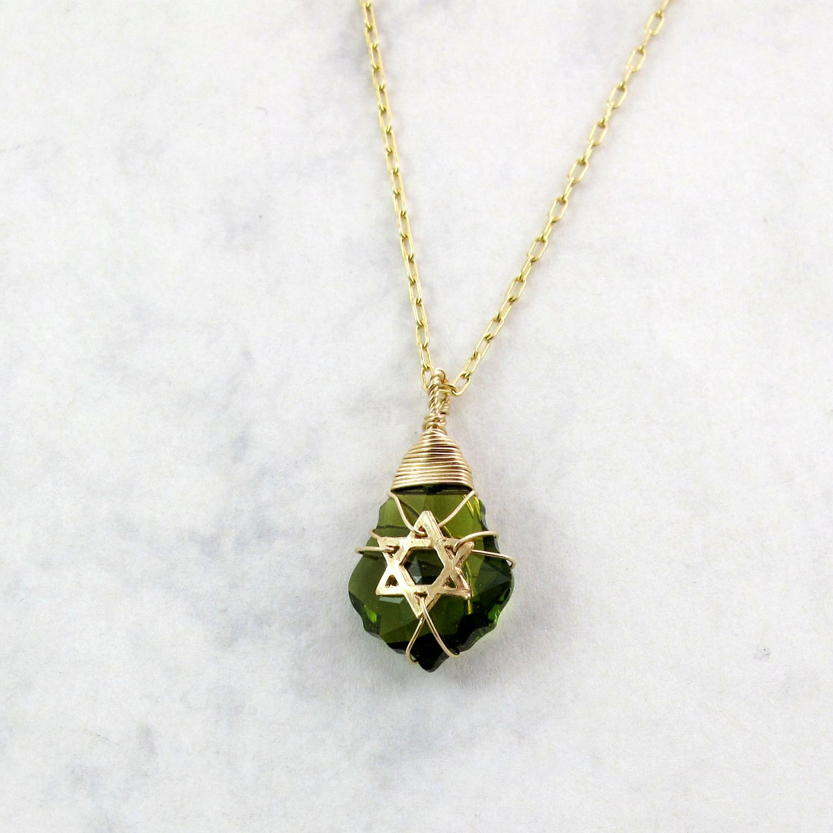 Star of David necklace with colorful Swarovski crystal  - IDF Green