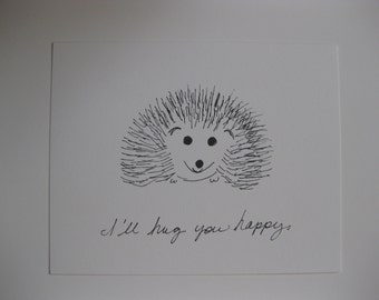 I'll Hug You Happy Hedgehog 8x10 archival print