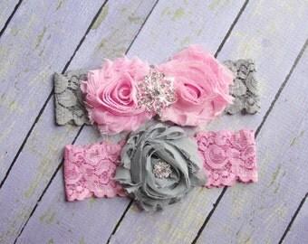 Pink and Gray Garter, Gray Wedding Garter, Garter Pink, Gray Pink Bridal Garter, Gray Garter, Garter Set, Garter Wedding, Garter Belt
