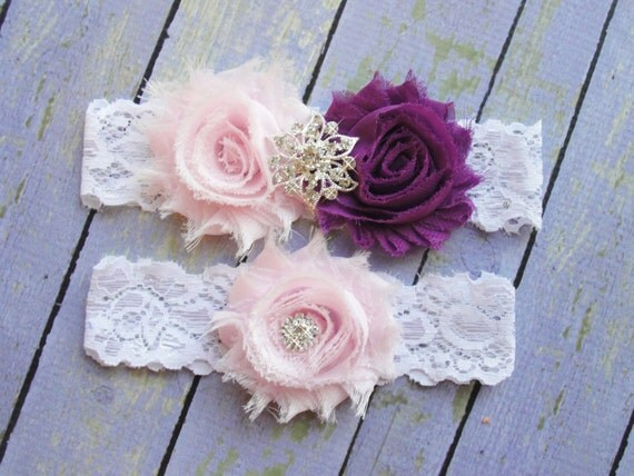 Wedding Garter Set, Pink and Plum Garters, Purple Garter, Garter, Sangria Garter, Eggplant Wedding