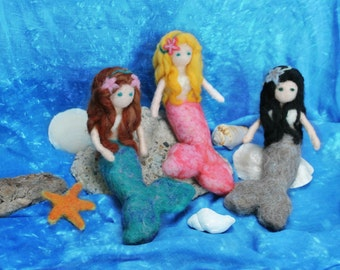Mermaid Doll, Needle Felted Mermaid Toy, Waldorf style Felted Mermaid, Waldorf Fantasy Doll, Custom Mermaid,