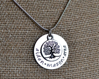 Tree of Life, Family Tree Mother or Grandmother Personalized Necklace - Hand Stamped, Custom, Mother's Day, Birthday Gift or Present