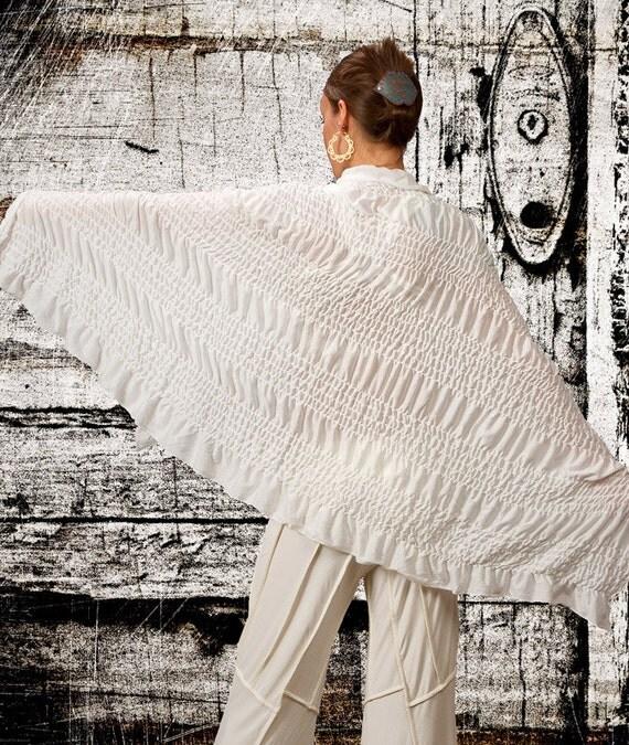 Boho Ruched Shawl in White for Womens Fashion Gift Womens Kundalini Yoga Clothing