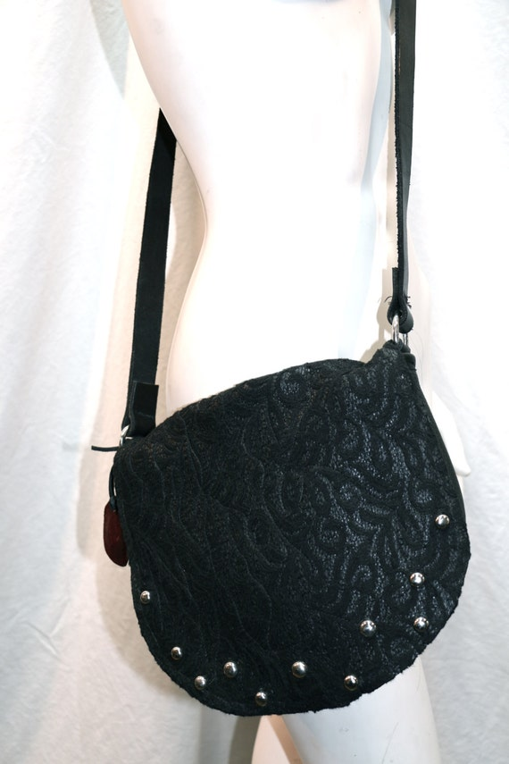 Bella black black lace over leather with silver round studs long