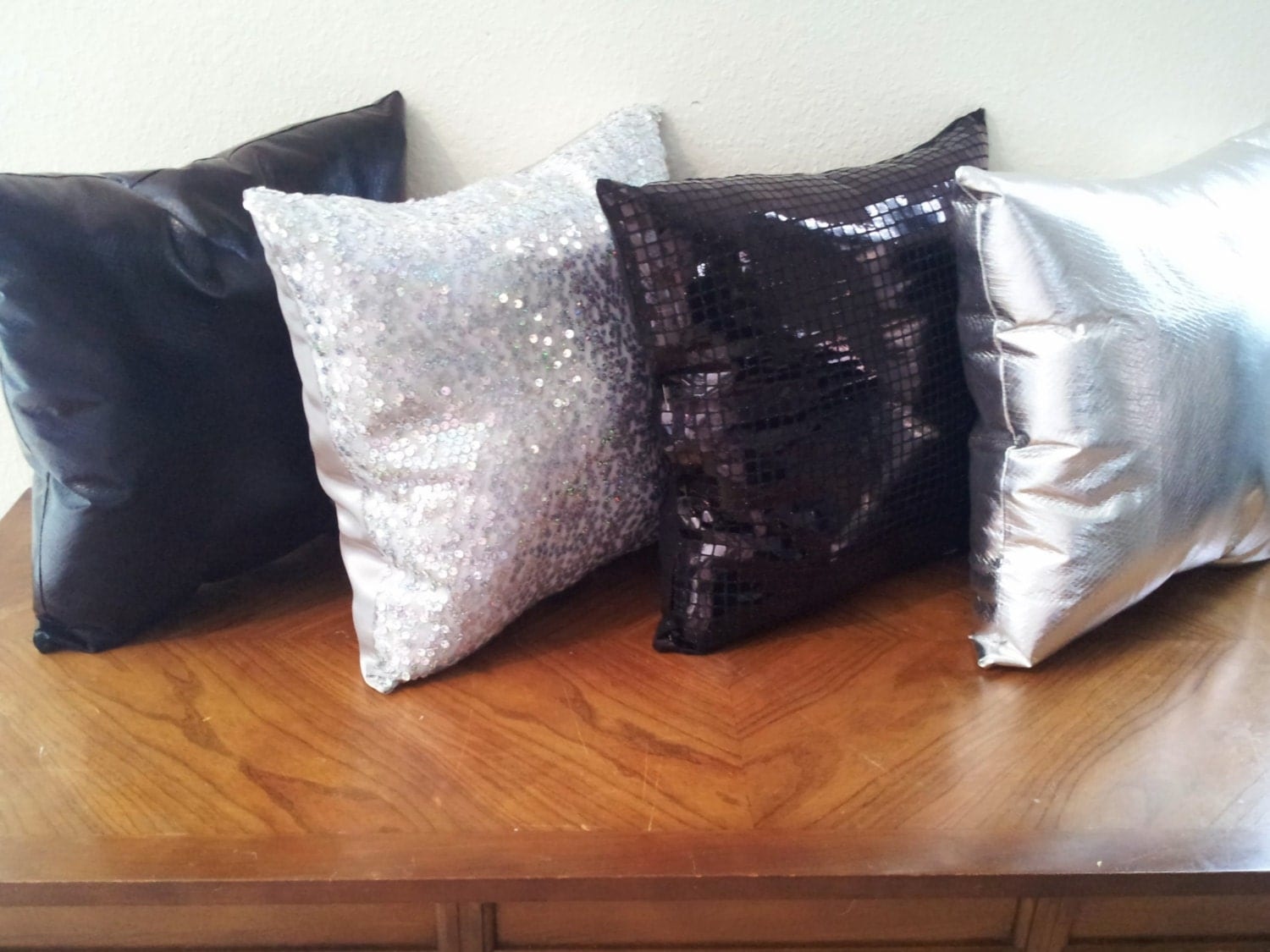 Black And Silver Decorative Pillows : Silver and Black Decorative Pillow Set