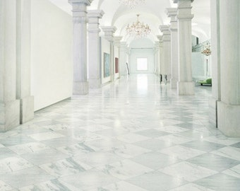 White Marble Hallway Photography Backdrop