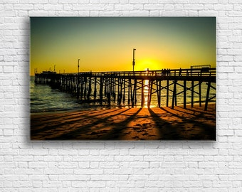Balboa Pier Print on Canvas | Sunset over the Pier | Ocean Sunset | Newport Beach CA | Sunset Beach | Fine Art Print on Canvas