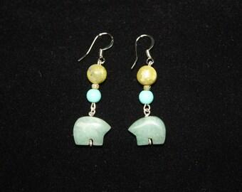 Jade Bears earrings