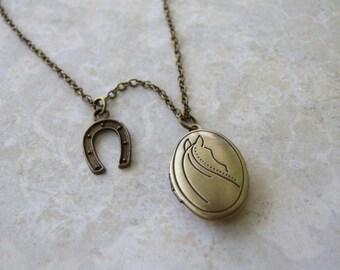 Horse Locket Necklace, Horseshoe Necklace, Horse Vintage Style Necklace, Equestrian Necklace, Horse Lovers Jewelry