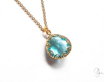 Dainty Blue Crystal Necklace - Gold Plated Filigree Aqua Light Blue Teardrop Chain Necklace - Wedding Bridal Bridesmaids Maid of Honor Gift