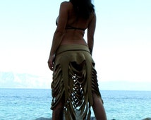 Savage Goddess - Reversible Shredded Skirt, Steampunk Blouse, Festival Skirt - Fairy Skirt - Burning Man, Zombie
