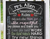 Teacher Appreciation Gift CUSTOM Teacher Classroom Rules Sign Digital File For Canvas or Framed Print PTSO End of the Year Gift