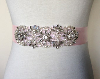 Wedding Accessories-Blush Pink Sash-Power Pink Sash-Applique Sash-Ribbon Belt-Wedding Dress Sash-Floral Crystal Pearl Applique Sash