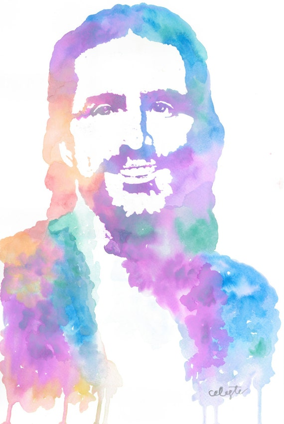 Cool toned watercolor painting of jesus christ the savior for Cool watercolour