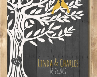 Wedding Gift Love Birds Tree, Personalized Engagement gift, , Anniversary Gift for Couples 11 x 14