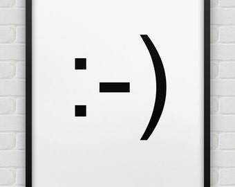 printable smiley emoticon poster // instant download print // black white home decor // printable smile wall art // :-)