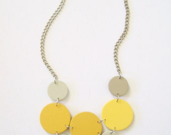 Modern geometric wooden necklace- circular in shades of yellow and gray- modern, contemporary, minimalist handmade jewelry- eco friendly