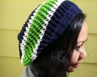 Seattle Seahawks Inspired Hand Knit Mesh Slouchy Hat