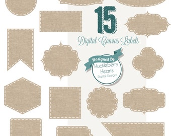 80% OFF SALE Digital Stitched Burlap Tags, Digital Labels with Brown Burlap and White Stitching