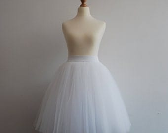White swan - ladies tulle skirt / adult tutu skirt  / off white tulle skirt / wedding skirt / bright white tulle skirt