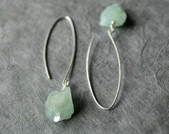Aquamarine earrings, Raw aquamarine earrings, Raw stone earrings, Gemstone dangles, March birthstone, Blue stone earrings