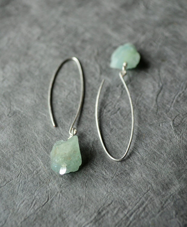 Aquamarine Gemstone Earrings: Aquamarine Earrings Raw Aquamarine Earrings Raw Stone