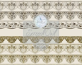 ONE DOLLAR SALE - Lace Borders, Lace Clip Art, Collage Sheet, Scrap Booking,Scrapbooking,Card Making,Wedding,Paper Craft,Craft Supplies,
