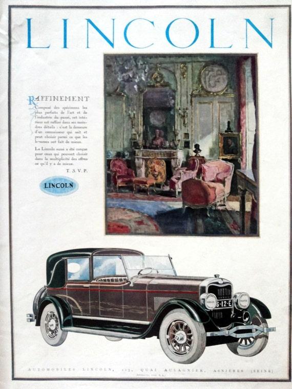 lincoln vintage art deco advertising page car poster. Black Bedroom Furniture Sets. Home Design Ideas