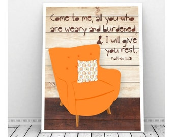 Scripture Art, Scripture Download, Matthew 11:28, Printable Scripture Art, Scripture Art Print, Mid Century Chair, Bible Verse Art Print