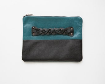 FREE SHIPPING handmade purse color blocking genuine leather black turquose fashion clutch gift for her under 50