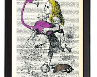 ALICE Book Print, Alice in Wonderland Art, Alice with Flamingo Poster, Vintage Dictionary Antique Book Art Print, Alice in Wonderland Art