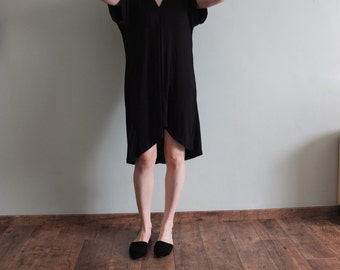 asymmetric black tencel dress with pinch detailing